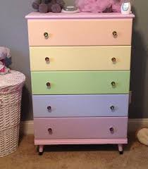 Granny S Dresser Redone For Arya Pastel Rainbow Dresser Girls Dresser Antique Dresser Makeover Girls Rainbow Bedroom Unicorn Bedroom Unicorn Room Decor