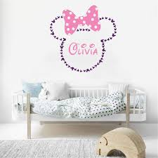 Amazon Com Tioua Mickey Mouse Wall Sticker Decal Minnie Mouse Head Silhouette Simple Style Wall Stickers Kids Room Personalised Name Girl Bedroom Home Kitchen