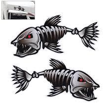 Pack Of 2 Skeleton Fish Bones Vinyl Decal Sticker Kayak Fishing Boat Car Graphics Walmart Com Walmart Com