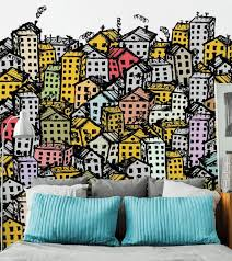 Colourful City Sketch Wall Mural Eazywallz
