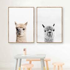 Baby Animal Alpaca Wall Art Canvas Print Farm Animals Llama Art Canvas Painting Poster For Kids Room Nursery Wall Art Decor Painting Calligraphy Aliexpress
