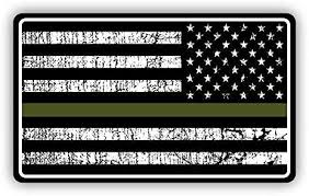 Amazon Com Magnet Military Thin Line Usa Reversed Flag Decal American Flag Sticker Grunge Green Stripe Magnetic Vinyl Bumper Sticker Sticks To Any Metal Fridge Car Signs 5 Kitchen Dining