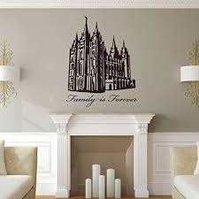 Amazon Com Family Is Forever Wall Decal With Salt Lake Temple Lds Vinyl Art Silhouette Home Decor For Living Room Bedroom Kitchen Office Handmade