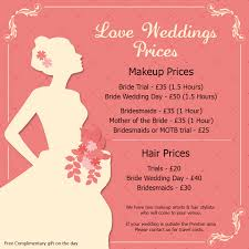 how much for bridal makeup and hair