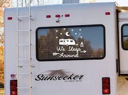 Funny Rv Decal We Sleep Around Custom Rv Decal Camper Decal Rv Vinyl Decal