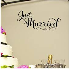 Amazon Com Just Married Vinyl Lettering Wall Car Decal Sticker Metallic Gold Home Kitchen