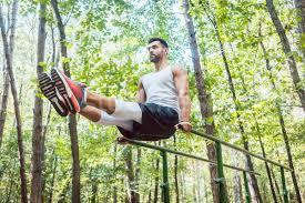 Fit man doing abdominal exercises in forest outdoor gym stock photo © Arne Trautmann (Kzenon) (#9702491) | Stockfresh