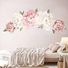 Amazon Com Holly Lifepro Peony Flowers Wall Decals Peel And Stick Rose Wall Sticker For Home Bedroom Nursery Room Wall Decor Style Two 15 7x24in Home Kitchen