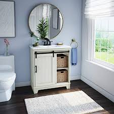 bathroom vanity with sliding barn door