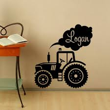 Nursery Decor Personalized Name Wall Decal Tractor Vinyl Stickers Custom Name Kids Room Decor Removable Art Mural N283 Wall Stickers Aliexpress
