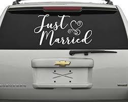 Amazon Com Just Married Car Window Decal 1 13x24 Handmade