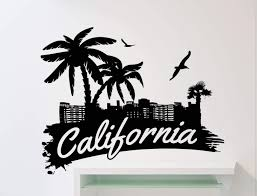 California Logo Word Wall Decal Palms Birds Beach Vinyl Sticker Home Interior Art Decoration Any Room Mural Waterproof Vinyl Sticker 13ex Amazon Com