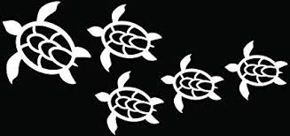 Amazon Com Hawaii Sea Turtles Family Car Truck Window Bumper Vinyl Graphic Decal Sticker 6 Inch 15 Cm Wide Gloss White Color Automotive
