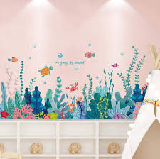 Amazon Com Amaonm Creative Cartoon Removable 3d Under The Sea World Nature Scenery Wall Stickers Ocean Grass Colorful Seaweed Baseboard Wall Decal For Wall Corner Nursery Room Bathroom Living Room Seaweed Arts Crafts