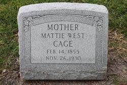 """Martha Almira """"Mattie"""" West Cage (1855-1930) - Find A Grave Memorial"""