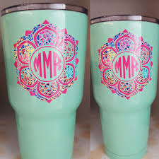 Yeti Monograms Decal Lily Inspired Decal Monogrammed Decal For Laptop Lace Monogrammed Decal By Scr Monogram Decal Yeti Lily Inspired Decals Monogram Decal