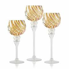 long stem glass candle holders set of