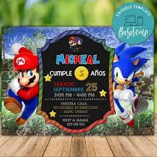 Invitacion De Cumpleanos De Super Mario Bros Y Sonic Para Imprimir