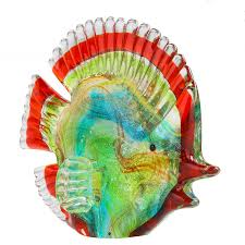 tropical glass fish sculpture art