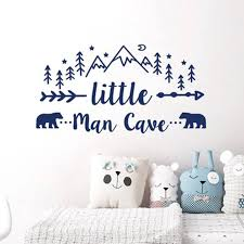 Little Man Cave Wall Decals Quote Words Nursery Boys Room Wall Decor Stickers Nursery Decor Removable Mural For Kids Room L924 Wall Stickers Aliexpress