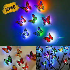 Diy Led Glowing 3d Butterfly Night Light Sticker Design Mural Home Wall Decal For Sale Online Ebay