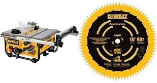Dewalt Dw745 10 Inch Compact Job Site Table Saw With 20 Inch Max Rip Capacity Corded 120v Ac With Dewalt Dw3219pt 10 Inch 80t Fine Crosscutting Saw Blade Amazon Com