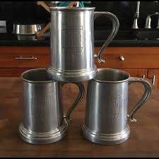 vintage pewter tankard beer mug set