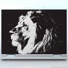 Black And White Lion King Lion Thinking Face Laptops Custom Size Laptop Decal Skin Wrap Sticker Animals