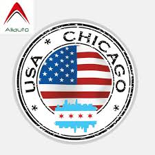 Aliauto Personality Creative Car Sticker Usa Chicago Flag Helmet Automobile Accessories Waterproof Sunscreen Decal 13cm 13cm Car Stickers Aliexpress