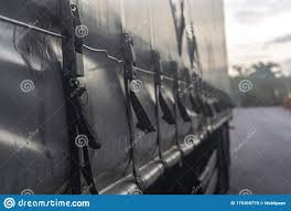 Attaching The Awning Of The Cargo Trailer Closeup Stock Photo Image Of Tent Blue 176369770