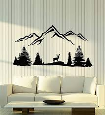 Amazon Com Vinyl Wall Decal Deer Mountains Wildlife Trees Beauty Nature Stickers Mural Large Decor G1979 Black Home Kitchen