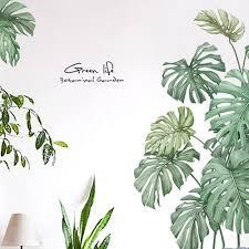 Akoada Green Plants Wall Sticker Tropical Leaves Wall Decal Diy Novelty Wall Art Mural For Cabinet Window Home Decoration Walmart Com Walmart Com