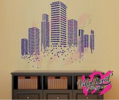 Contemporary City Building Wall Decal Cityscape Wall Decal Geometric Shape Wall Art Custom Wall Decal Large Wall Decal Wall Decal