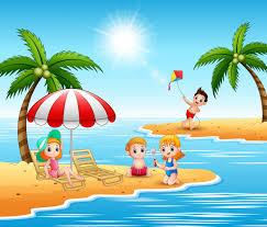 Dzieci Na Wakacjach Na Plaży | Premium Wektor