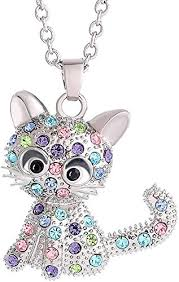 gmhkonw cat necklace silver plated