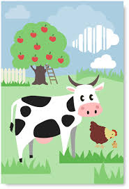 Awkward Styles Cute Animals Printed Art Picture Sunny Household Cow Image Farm Poster Decor Farm Animals Unframed Art Kids Room Wall Art Newborn Baby Room Wall Decor Farm Wallpapers Made In Usa