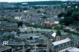 Aerial view - shows Fownes, Perry Wood (Metal Box factory) and gasholder;  1983 J0905301E38 | The Changing Face of Worcester