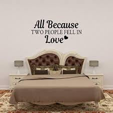 Amazon Com Basicor All Because Two People Fell Love Wall Decal Home Kitchen