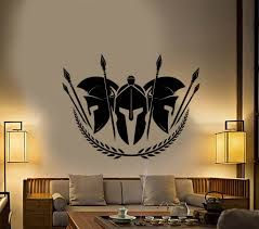 Vinyl Wall Decal Spartan Warriors Helmet Spear Stickers 2854ig Wallstickers4you