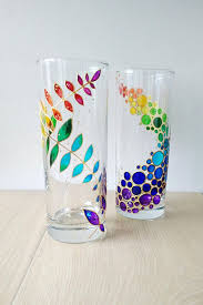 drinking glasses set of 2 hand painted