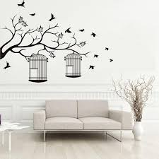 Tree Branches Birdcage Birds Wall Stickers Living Room Bedroom Removable Background Decor Wall Decals Home Decoration Wallpaper Poster Mural Wall Decal Decorations Wall Decal Design From Magicforwall 9 54 Dhgate Com