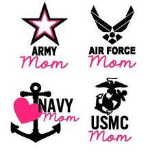 Military Mom Army Mom Air Force Mom Navy Mom Marine Mom Vinyl Decal On Etsy 7 00 Silhouette Vinyl Military Girlfriend Vinyl Decals