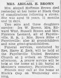 Abigail J. Hoffman Brown (Sep. 15, 1860-Sep. 2, 1940) [Public Opinion,  Chambersburg] - Newspapers.com
