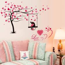 Bibitime Lover Cat Playing Trapeze Wall Decals Blooming Heart Tree Art Sticker For Girlfriend Bedroom Valentines Day Love Forever Saying Quotes Home Decor Accents Home Decor Home Decor Accents Stickers