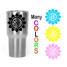Sunflower Petal Monogram Name Decal Sticker Yeti Tumbler 20oz 30oz Cup Free Ship 3 50 Picclick