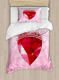 Ambesonne Vibrant Love Heart With Princess Crown Cartoon Style Romantic Kids Girls Room Decor Duvet Cover Set Reviews Wayfair