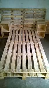 pallet bed frame with side tables and