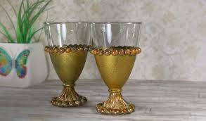 gold wine glasses painted green vintage