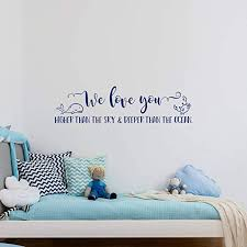 Amazon Com Littledollz N Sunforest We Love You Higher Than The Sky Wall Decal With Whale Baby Nursery Nautical Decor Nautical Nursery Wall Decal Quote Wall Decal Kids 22 Inch Home Kitchen