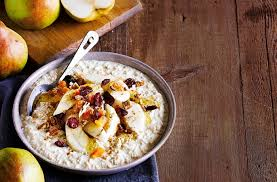 bircher muesli with pears maple syrup